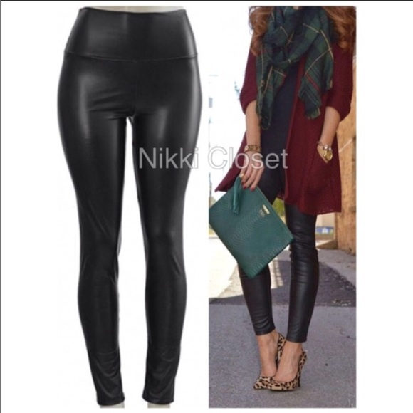 8a1904f5216a8a Pants | Black Faux Leather Fleece Lined Leggings Lined | Poshmark